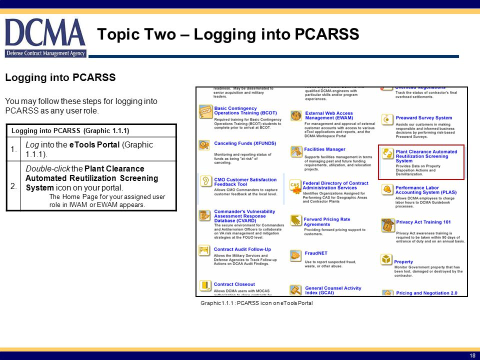 Topic Two – Logging into PCARSS 18 Logging into PCARSS Graphic 1.1.1 : PCARSS icon on eTools Portal You may follow these steps for logging into PCARSS as any user role.