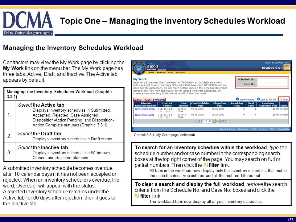 Topic One – Managing the Inventory Schedules Workload 211 Managing the Inventory Schedules Workload Contractors may view the My Work page by clicking the My Work link on the menu bar.