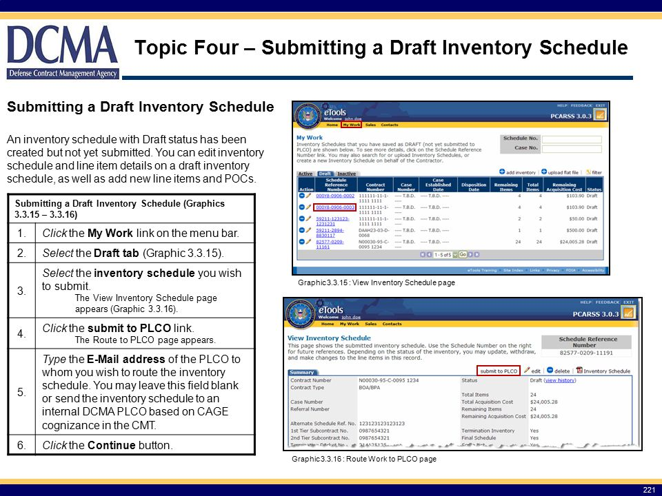 Topic Four – Submitting a Draft Inventory Schedule 221 Submitting a Draft Inventory Schedule Submitting a Draft Inventory Schedule (Graphics 3.3.15 – 3.3.16) 1.
