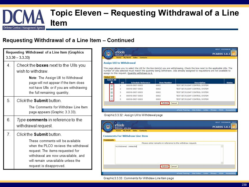 Topic Eleven – Requesting Withdrawal of a Line Item Requesting Withdrawal of a Line Item (Graphics 3.3.30 – 3.3.33) 4.
