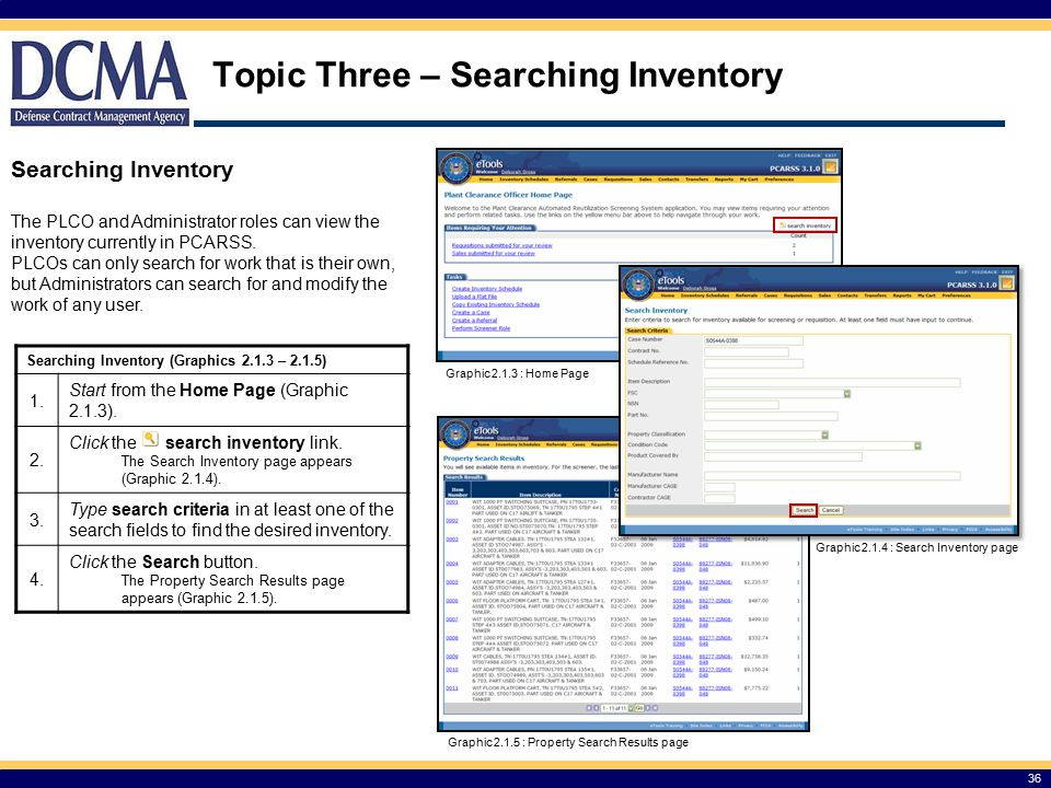 Topic Three – Searching Inventory 36 Searching Inventory (Graphics 2.1.3 – 2.1.5) 1.