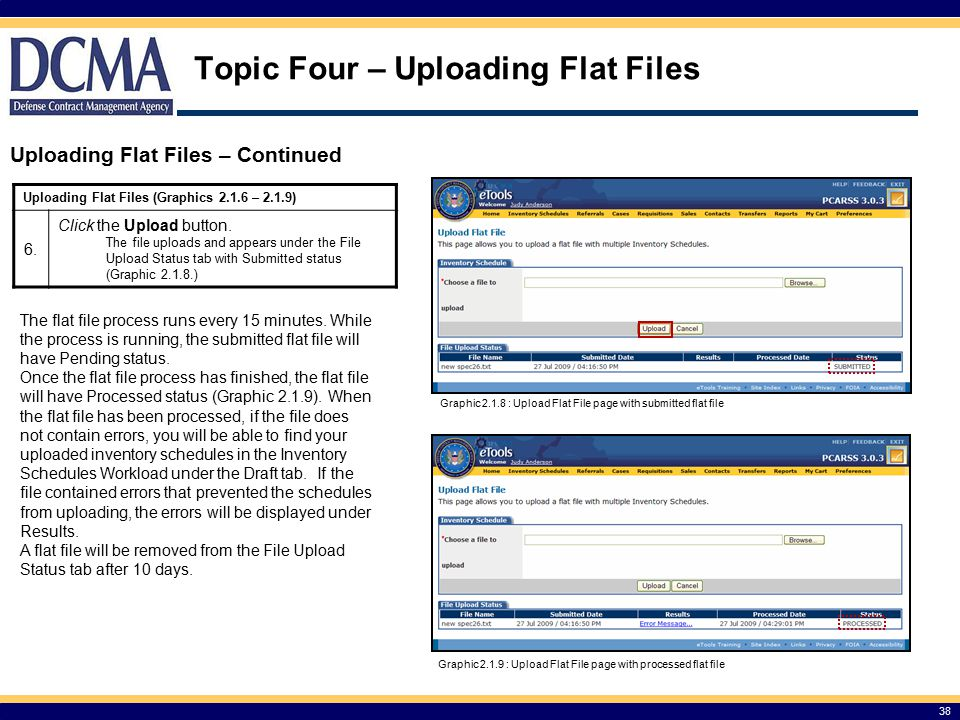 Topic Four – Uploading Flat Files Uploading Flat Files – Continued 38 Graphic 2.1.8 : Upload Flat File page with submitted flat file Graphic 2.1.9 : Upload Flat File page with processed flat file The flat file process runs every 15 minutes.