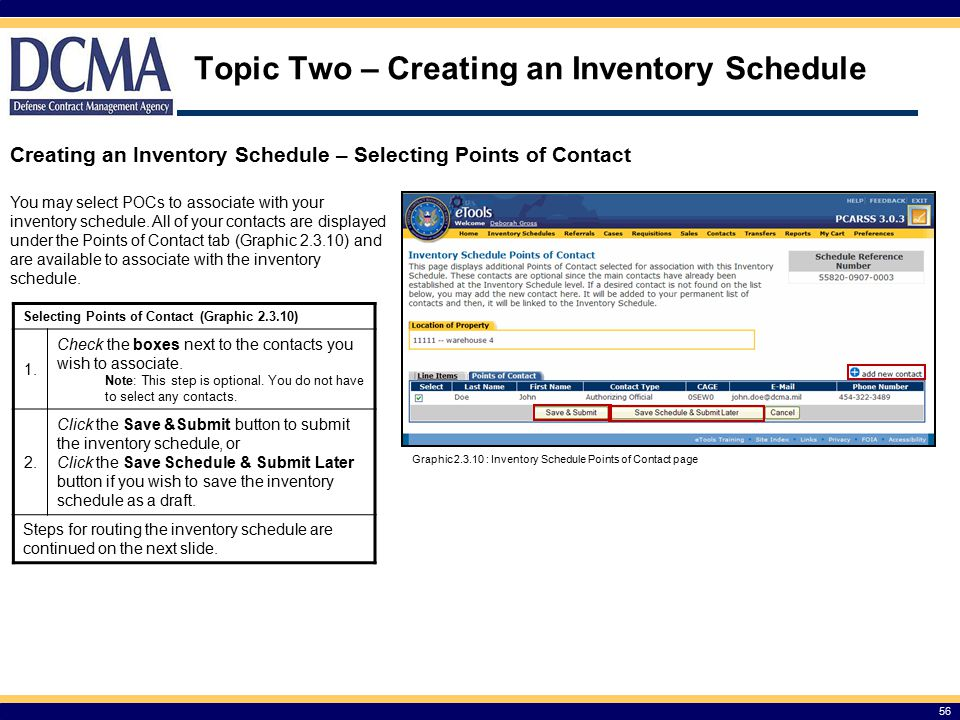 Topic Two – Creating an Inventory Schedule 56 Selecting Points of Contact (Graphic 2.3.10) 1.