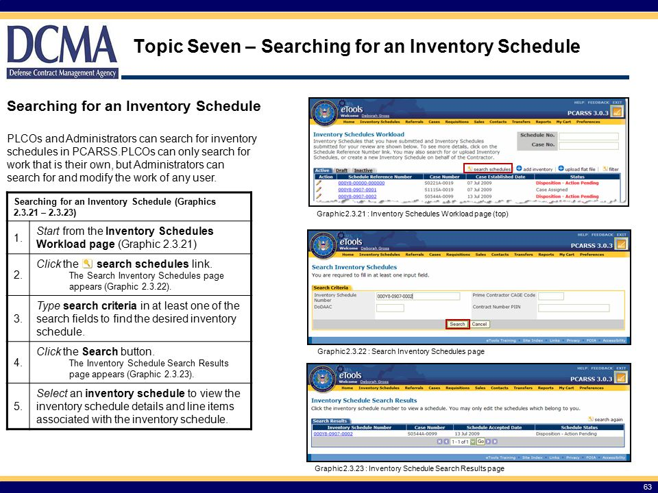 Topic Seven – Searching for an Inventory Schedule 63 Searching for an Inventory Schedule (Graphics 2.3.21 – 2.3.23) 1.