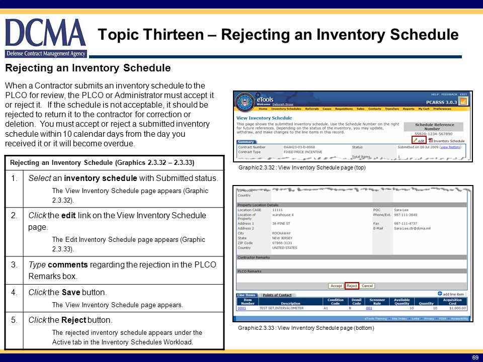 Topic Thirteen – Rejecting an Inventory Schedule Rejecting an Inventory Schedule (Graphics 2.3.32 – 2.3.33) 1.