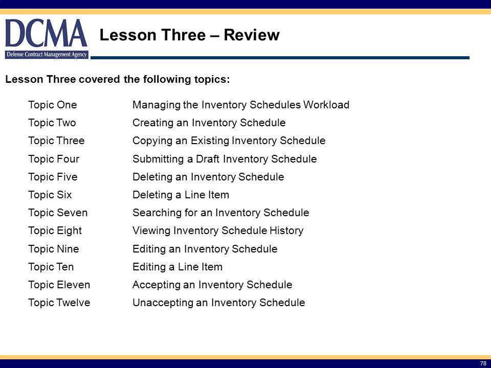 Lesson Three – Review 78 Lesson Three covered the following topics: Topic OneManaging the Inventory Schedules Workload Topic TwoCreating an Inventory Schedule Topic ThreeCopying an Existing Inventory Schedule Topic FourSubmitting a Draft Inventory Schedule Topic FiveDeleting an Inventory Schedule Topic SixDeleting a Line Item Topic SevenSearching for an Inventory Schedule Topic EightViewing Inventory Schedule History Topic NineEditing an Inventory Schedule Topic TenEditing a Line Item Topic ElevenAccepting an Inventory Schedule Topic TwelveUnaccepting an Inventory Schedule
