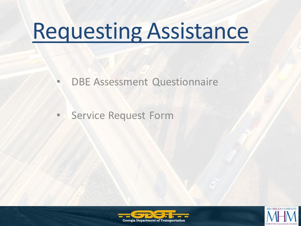 DBE Assessment Questionnaire Service Request Form Requesting Assistance
