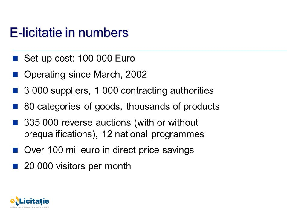 E-licitatie in numbers Set-up cost: 100 000 Euro Operating since March, 2002 3 000 suppliers, 1 000 contracting authorities 80 categories of goods, thousands of products 335 000 reverse auctions (with or without prequalifications), 12 national programmes Over 100 mil euro in direct price savings 20 000 visitors per month