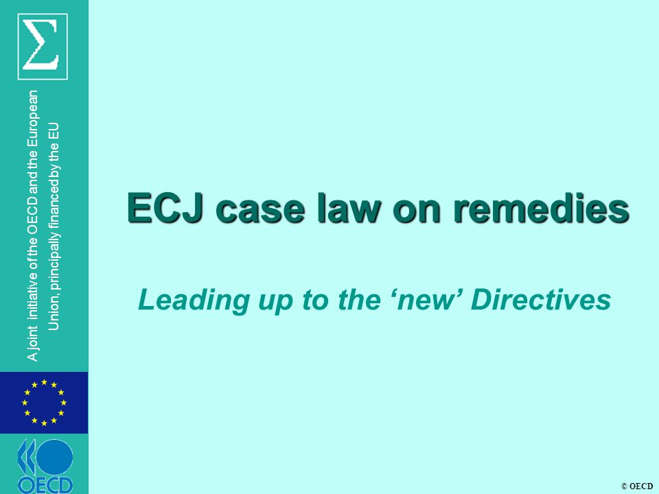 © OECD A joint initiative of the OECD and the European Union, principally financed by the EU C-470/99, Universale Bau l ECJ: In absence of Community rules, Member States are free to provide procedural rules if coherent with fundamental principles of the EC Treaty.