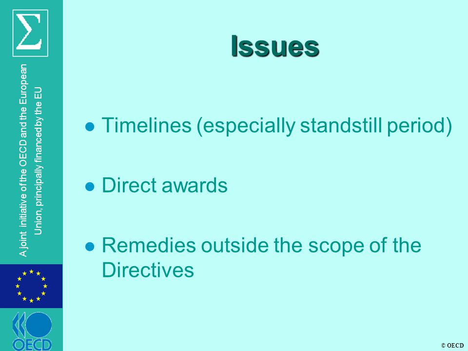 © OECD A joint initiative of the OECD and the European Union, principally financed by the EU Issues l Timelines (especially standstill period) l Direct awards l Remedies outside the scope of the Directives
