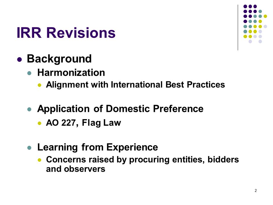 IRR Revisions: Eligibility Requirements – Goods and Infra (Sec.