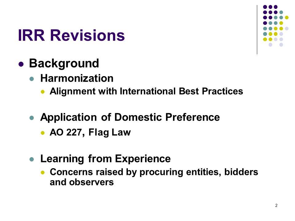 IRR Revisions Notice of Award (Sec.