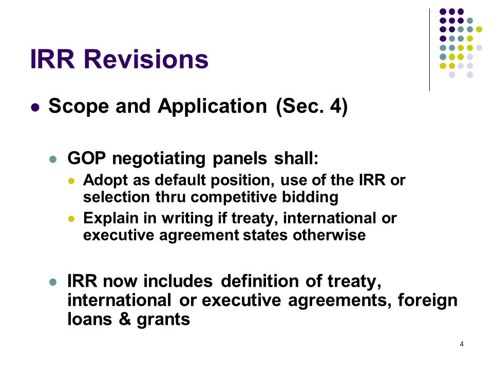 IRR Revisions Submission and Receipt of Bids (Sec.