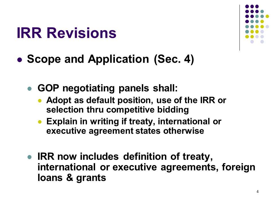 IRR Revisions: Eligibility Criteria – Goods (Sec.