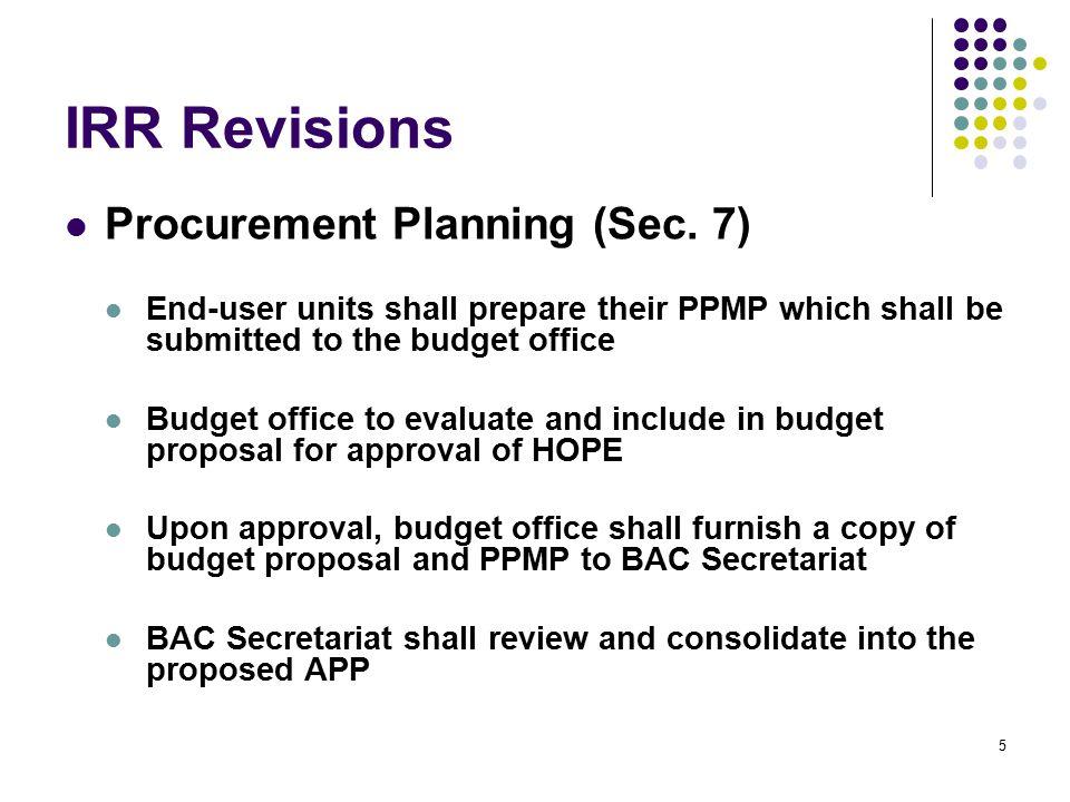 IRR Revisions Procurement Planning (Sec.