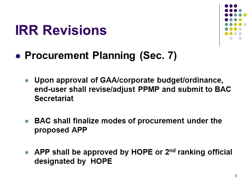 IRR Revisions Eligibility Requirements (Sec.