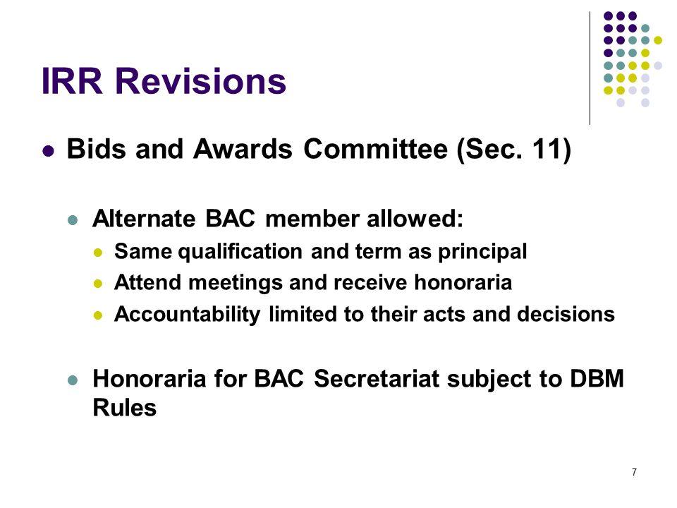 IRR Revisions Eligibility Criteria (Sec.
