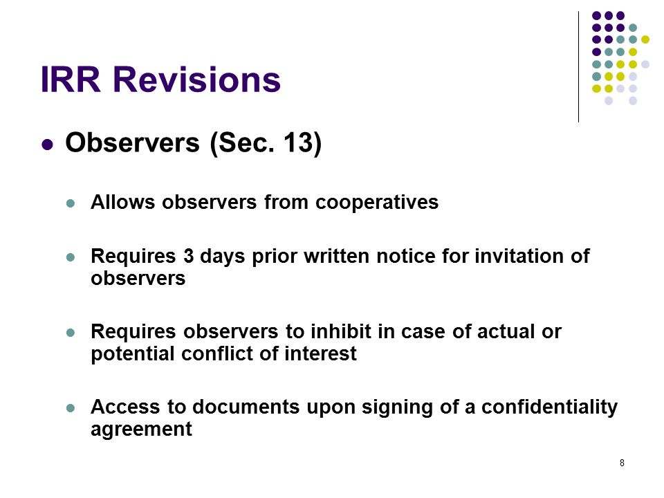 IRR Revisions Warranty Security – Goods (Sec.