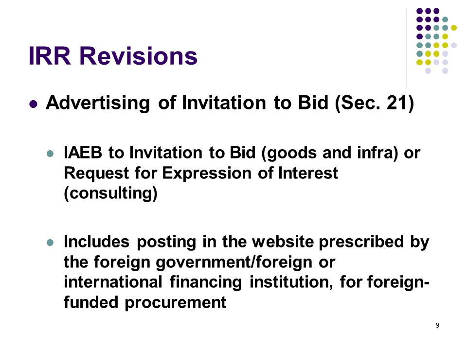 IRR Revisions Ceiling for Bid Prices (Sec.