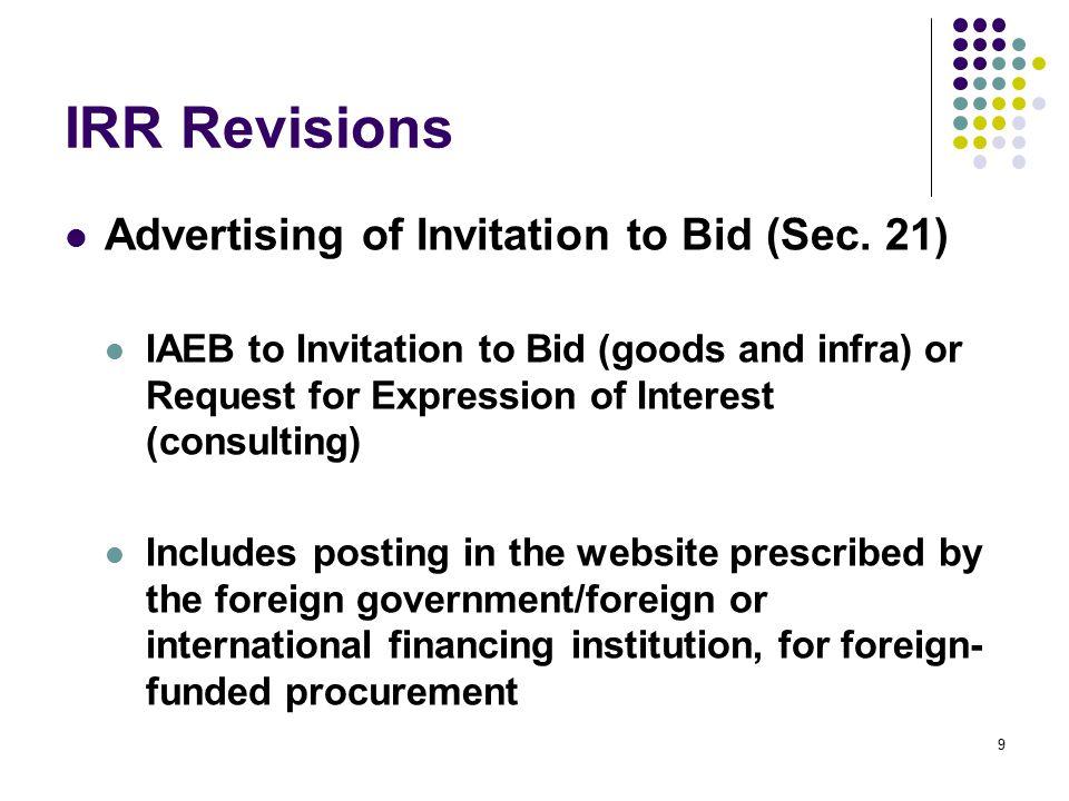 IRR Revisions Warranty Security – Infra (Sec.62) Warranty period vs.