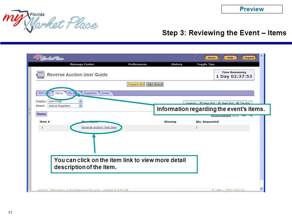 11 Information regarding the event's items.