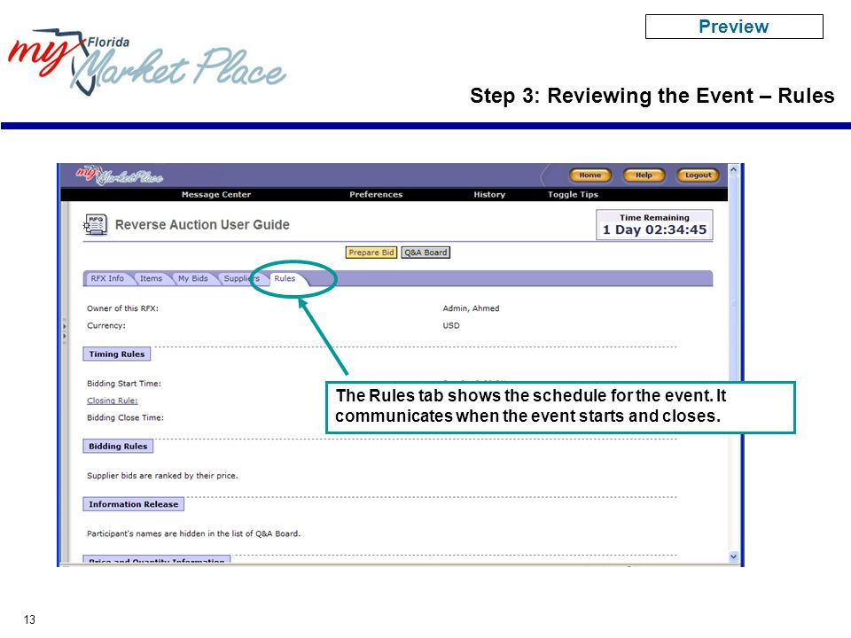 13 The Rules tab shows the schedule for the event. It communicates when the event starts and closes. Step 3: Reviewing the Event – Rules Preview