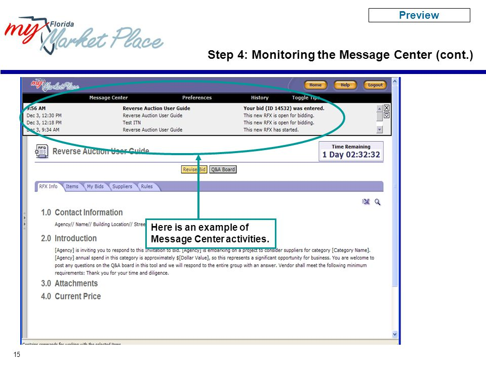 15 Here is an example of Message Center activities.