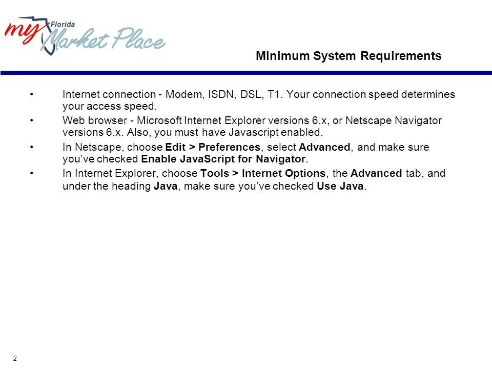 2 Minimum System Requirements Internet connection - Modem, ISDN, DSL, T1.