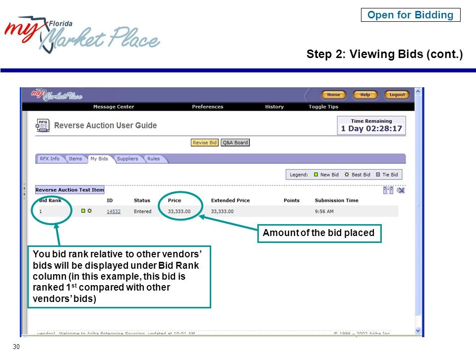 30 Open for Bidding Step 2: Viewing Bids (cont.) You bid rank relative to other vendors' bids will be displayed under Bid Rank column (in this example, this bid is ranked 1 st compared with other vendors' bids) Amount of the bid placed