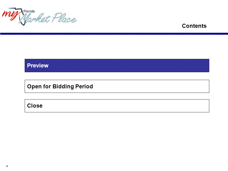 4 Open for Bidding Period Close Contents Preview