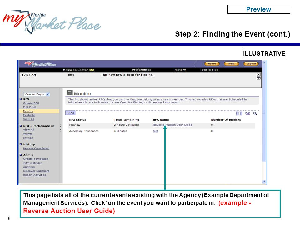 8 This page lists all of the current events existing with the Agency (Example Department of Management Services). 'Click' on the event you want to par