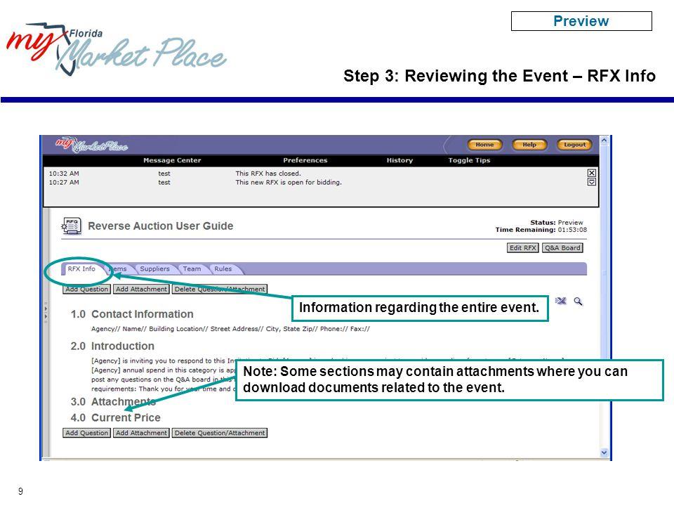 9 Information regarding the entire event.