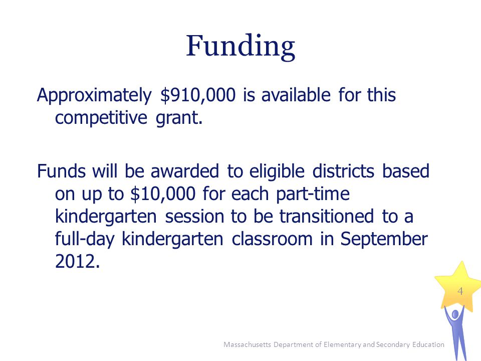 Massachusetts Department of Elementary and Secondary Education 5 Fund Use  Salaries or stipends for staff responsible for the transition to full-day kindergarten  Stipends and/or substitutes for staff to attend professional development, committee meetings and other transition activities  Consultants, professional development, NAEYC accreditation  Curriculum development  Capital or facilities improvements  Materials/supplies for new classrooms