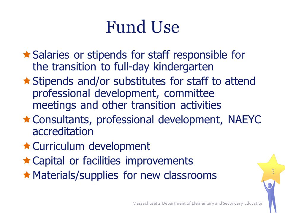 Massachusetts Department of Elementary and Secondary Education 6 Due Dates January 17 th : Intent to Apply Include: district name, contact information, and estimated number of part-day kindergarten sessions that will open as full- day classrooms in FY2013 and that will be included in the FY2012 Fund Code: 702 grant proposal Email to:mchen@doe.mass.edu January 24 th : Full application with signatures due to the Department by 5:00 p.m.