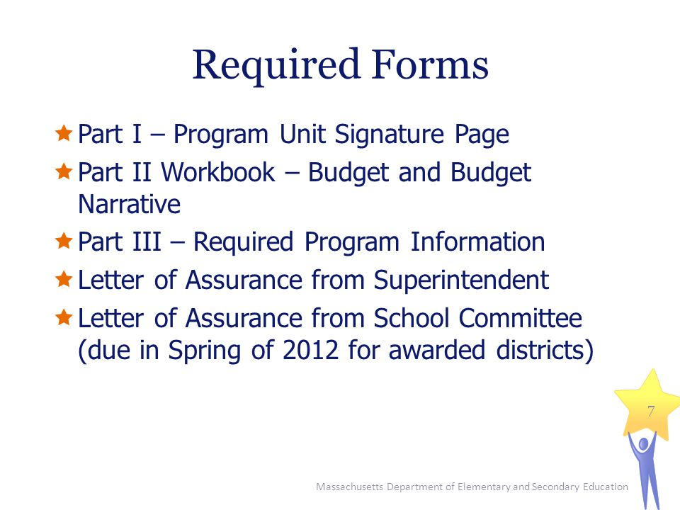 Massachusetts Department of Elementary and Secondary Education 7 Required Forms  Part I – Program Unit Signature Page  Part II Workbook – Budget and Budget Narrative  Part III – Required Program Information  Letter of Assurance from Superintendent  Letter of Assurance from School Committee (due in Spring of 2012 for awarded districts)