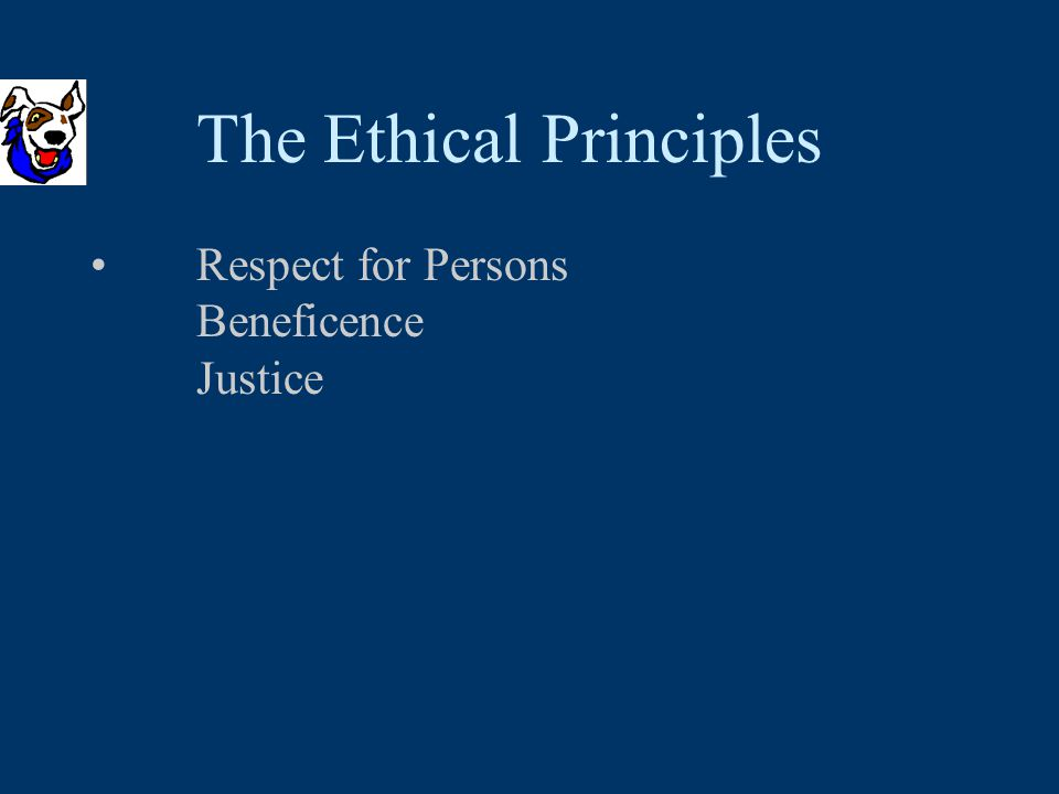 Respect for Persons Beneficence Justice The Ethical Principles