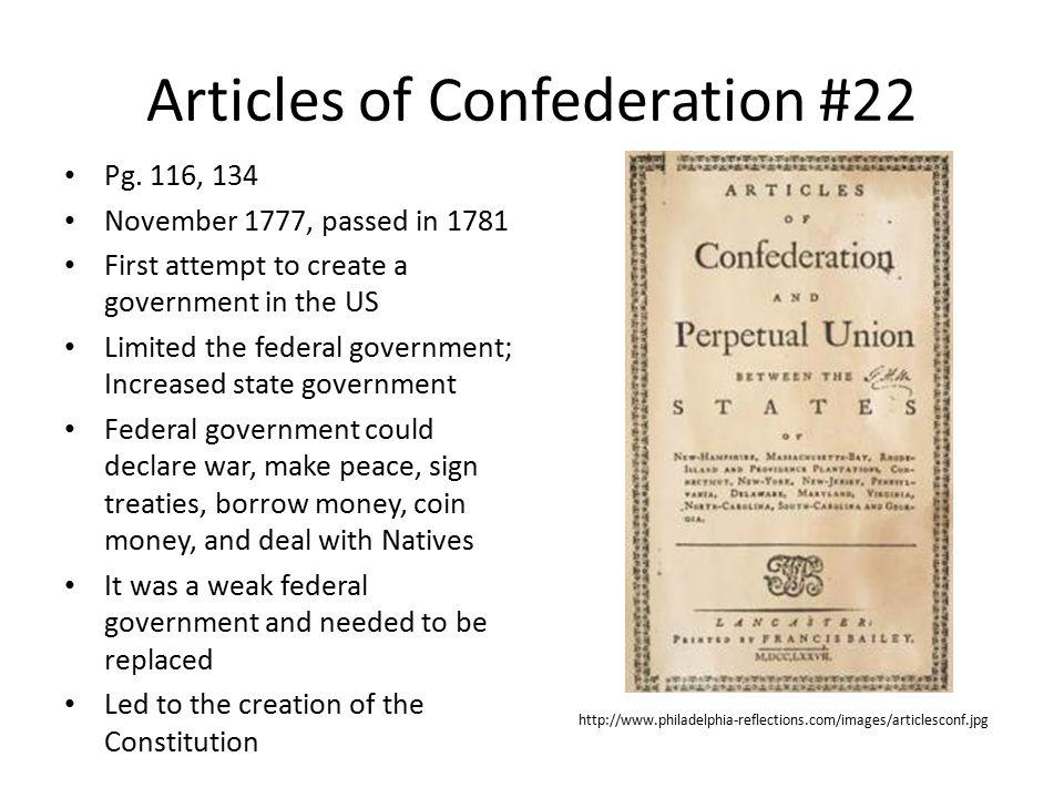 Articles of Confederation #22 Pg.