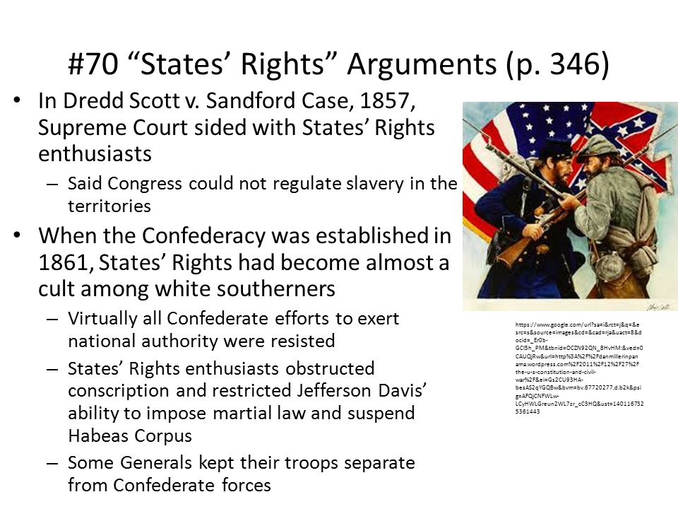 #70 States' Rights Arguments (p.346) In Dredd Scott v.