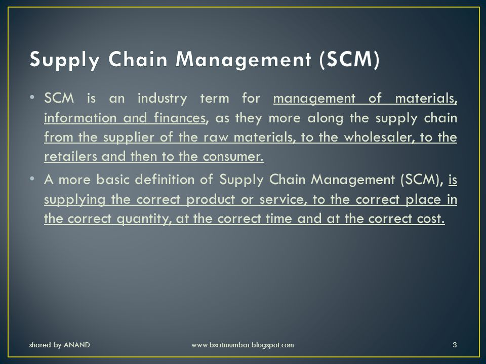 shared by ANANDwww.bscitmumbai.blogspot.com54 Manufacturing: manufacturer's commitment to inventory is deep and duration is long.