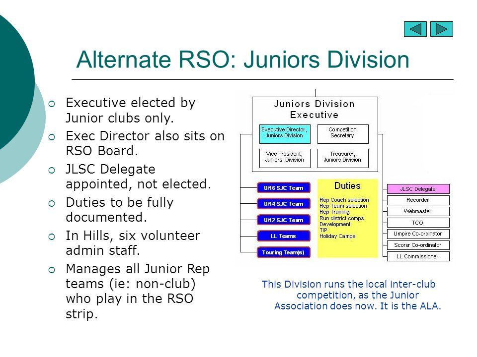Alternate RSO: Juniors Division  Executive elected by Junior clubs only.  Exec Director also sits on RSO Board.  JLSC Delegate appointed, not elect