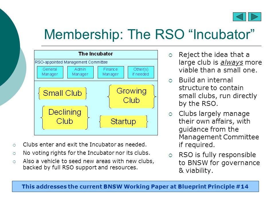 "Membership: The RSO ""Incubator""  Reject the idea that a large club is always more viable than a small one.  Build an internal structure to contain s"