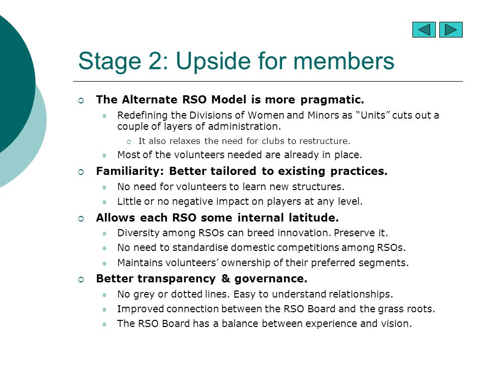 Stage 2: Upside for members  The Alternate RSO Model is more pragmatic.