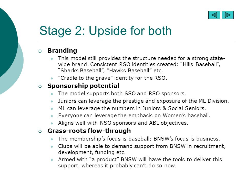 Stage 2: Upside for both  Branding This model still provides the structure needed for a strong state- wide brand. Consistent RSO identities created: