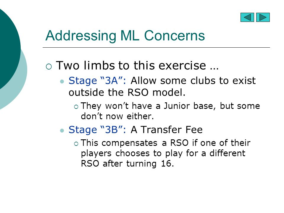 "Addressing ML Concerns  Two limbs to this exercise … Stage ""3A"": Allow some clubs to exist outside the RSO model.  They won't have a Junior base, bu"