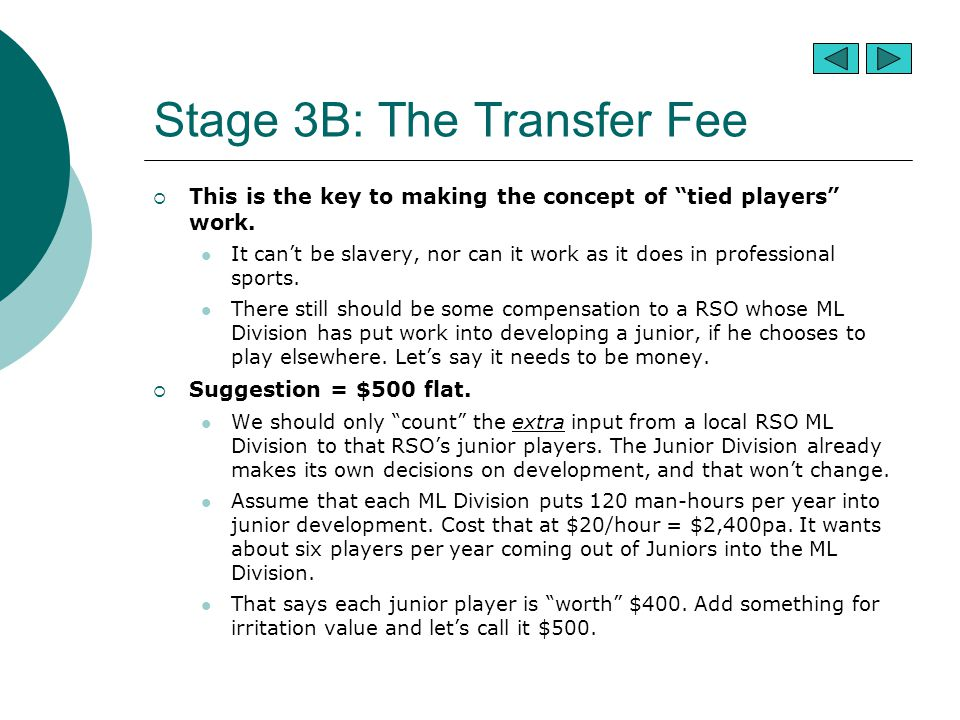 Stage 3B: The Transfer Fee  This is the key to making the concept of tied players work.