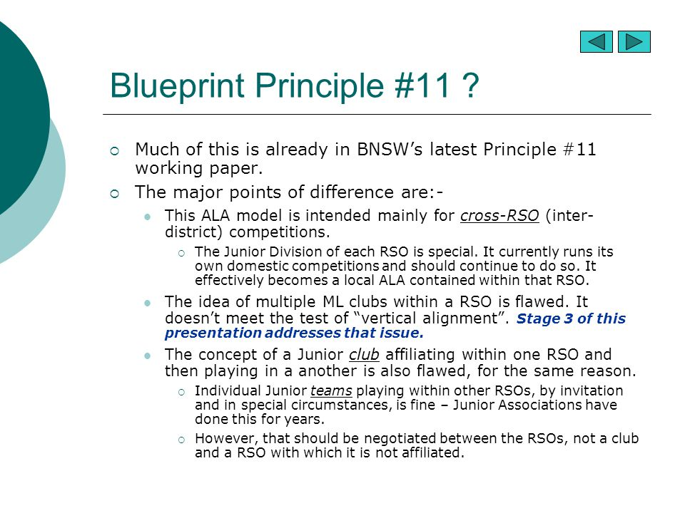 Blueprint Principle #11 .  Much of this is already in BNSW's latest Principle #11 working paper.