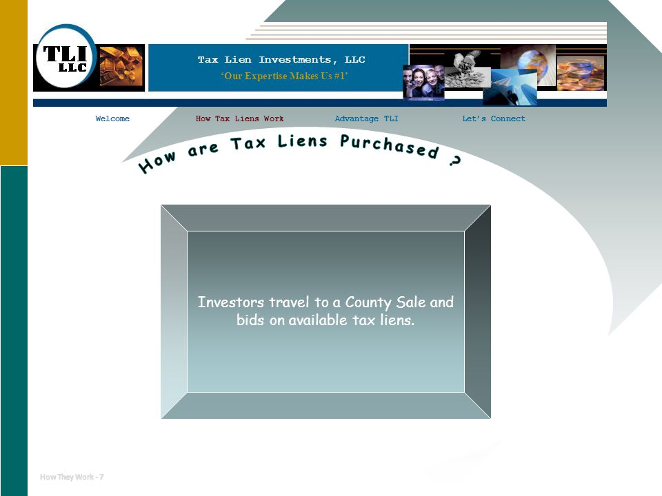 11 Tax Lien Investments, LLC WelcomeHow Tax Liens WorkAdvantage TLILet's ConnectWelcomeHow Tax Liens WorkLet's Connect How They Work - 7 Investors travel to a County Sale and bids on available tax liens.