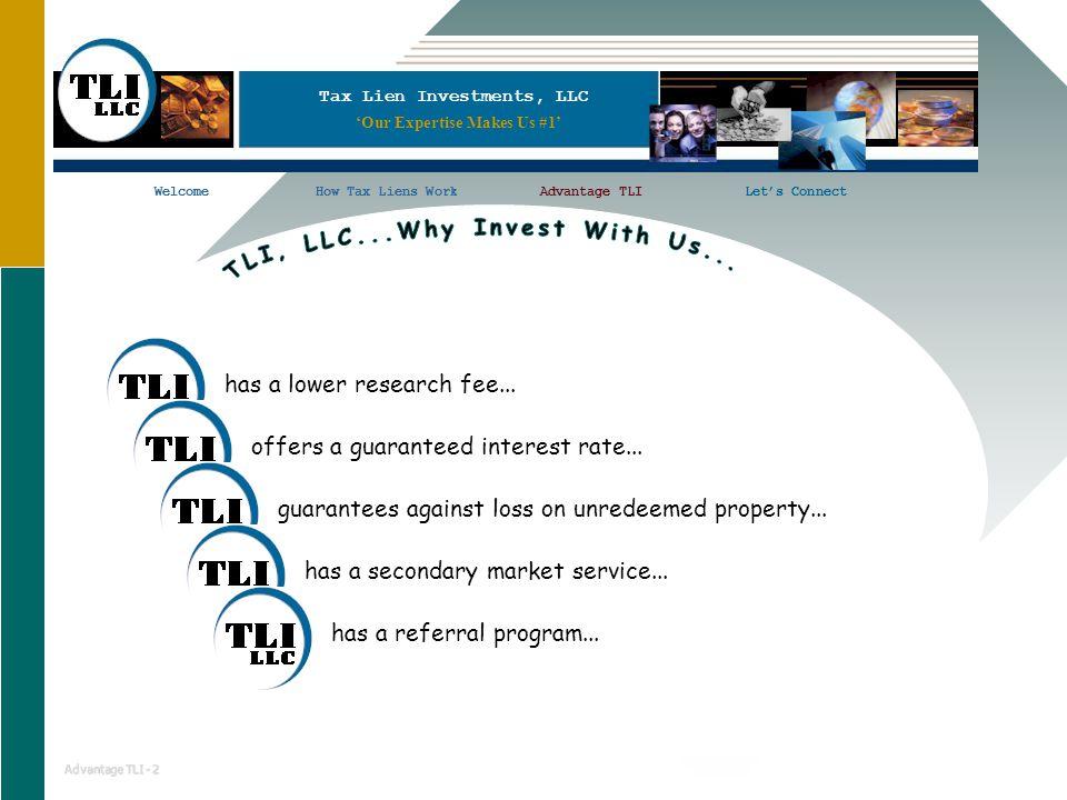 Tax Lien Investments, LLC WelcomeHow Tax Liens WorkAdvantage TLILet's ConnectWelcomeHow Tax Liens WorkLet's Connect Advantage TLI - 2 has a lower research fee...