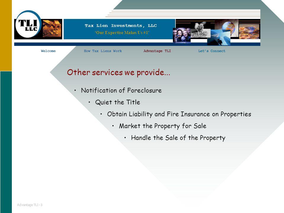 Tax Lien Investments, LLC WelcomeHow Tax Liens WorkAdvantage TLILet's ConnectWelcomeHow Tax Liens WorkLet's Connect Advantage TLI - 3 'Our Expertise M
