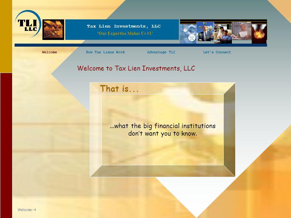 Tax Lien Investments, LLC WelcomeHow Tax Liens WorkAdvantage TLILet's ConnectWelcomeHow Tax Liens WorkLet's Connect Welcome - 4 Welcome to Tax Lien In